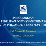 Pengumuman Penelitian BOPTN (SIMLITABMAS) untuk Perguruan Tinggi Non-PTNBH